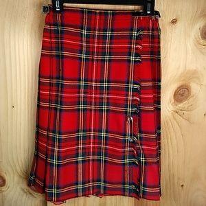 Genuine Vintage Scottish Tartan Pleated Wrap Skirt